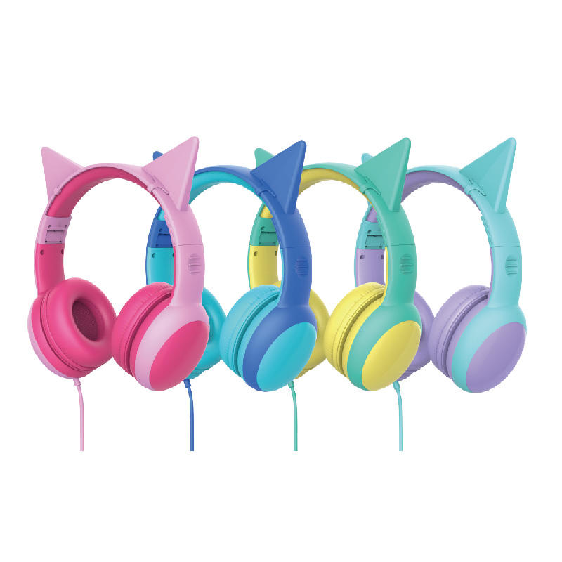 Colorful Wholesale 85db Limit 3.5mm Stereo Plug Folding Wired Cat Ear Kids Headphone Without Microphone Online Study