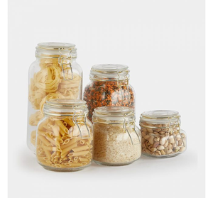 Canisters Glass Storage Canning Jar Clear Glass Jars With Wooden Lids For Sugar Flour Tea Candies
