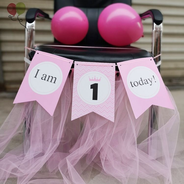 I am 1 Today Banner Paper Lovely Birthday Bunting One Year Old Baby Girls First Birthday Boy Party Photo Props Decoration K378