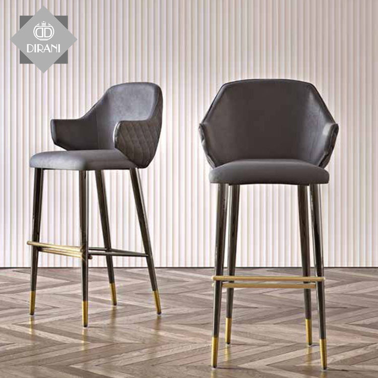 Black Cheap Velvet Bar Counter Stool Home Modern Minimalist Casual Cafe Furniture Gold Metal High Bar Chairs For Bar Table
