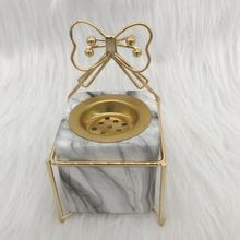 2019 New Sweet Style Ceramic Censer Marble White Square Ceramic Incense Burner With Bowknot