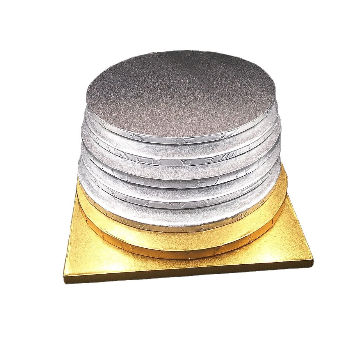 Well Kuchen Boards Runde Platz Gold Silber Folie Pizza Basis Einweg Trommel Kreise 6mm 12mm