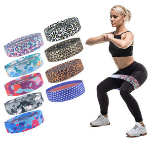 Exercise Workout Stretch Heavy Custom Leopard Printing Patterned Fabric Cotton Resistance Loop Band