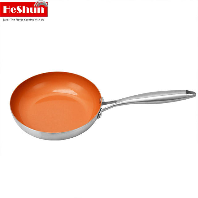 Factory direct Healthy ceramic nonstick triple ply frypan stainless steel Multi-function frying pan