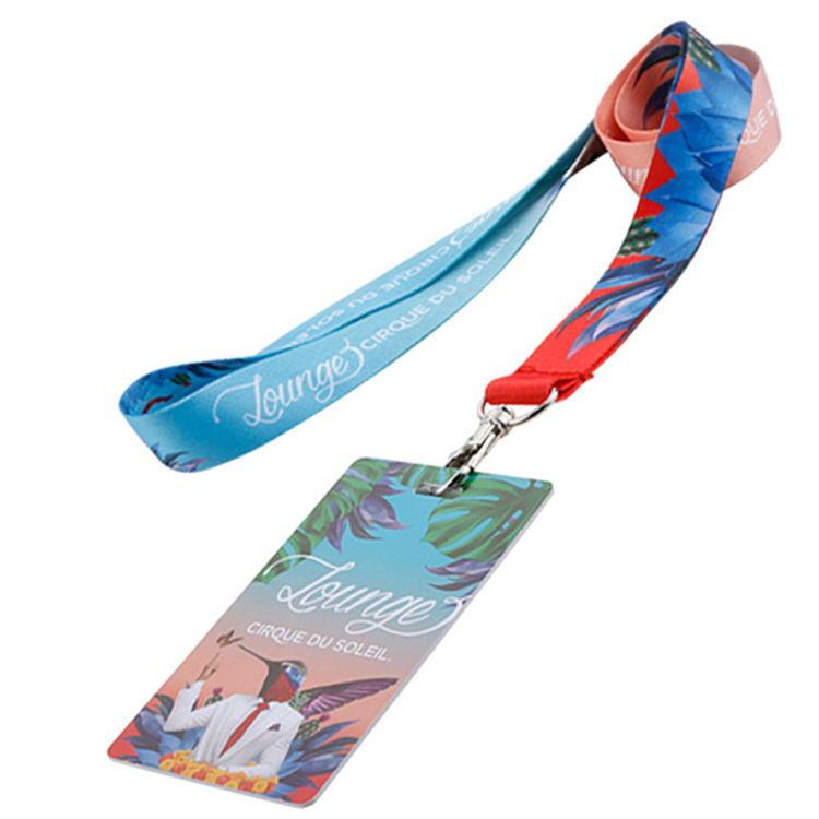 Wholesale custom high end id card neck strap Sublimation printed car lanyard for car exhibition staff