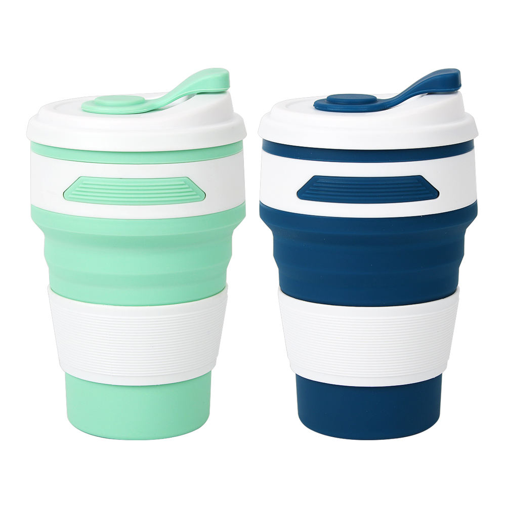 Custom printed travel silicone drinking cup foldable folding collapsible silicone cup reusable eco friendly coffee cup
