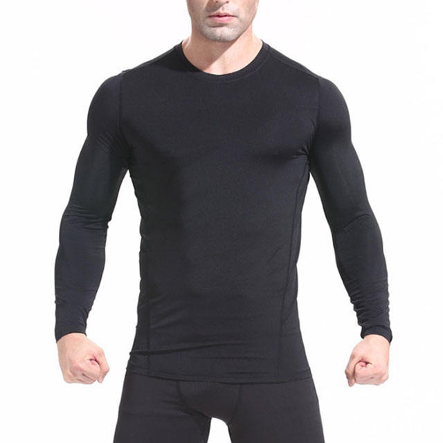 Outdoor Quick-drying Mens Clothes Long Sleeve Sports Tights Running Basketball Breathable Fitness Sportswear