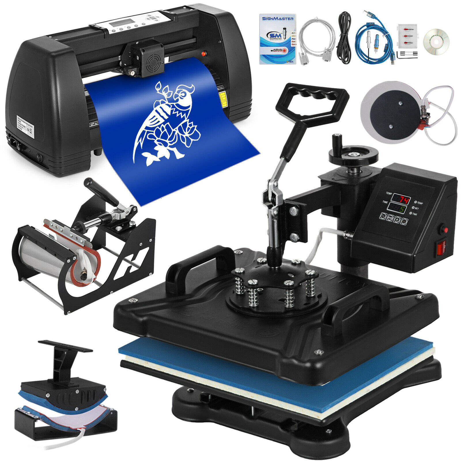 "5in1 Heat Press 15""x12"" 14"" Vinyl Cutter Plotter T-Shirt Sticker Print Usb Port"