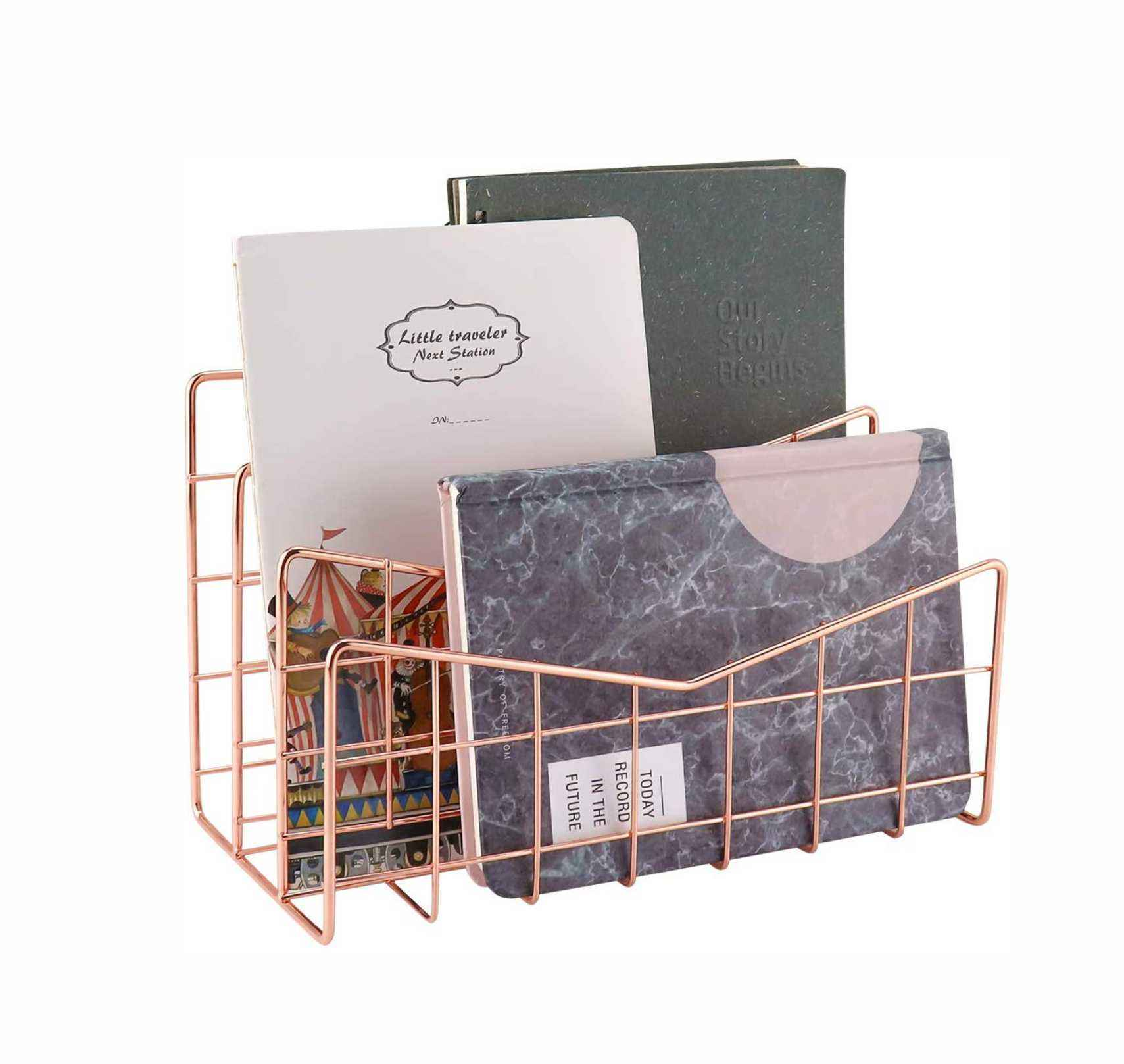Desk Wire Letter Mail Sorter, Decorative File Storage Organizer for Postcard, Mail, Brochure and Notebook, Rose Gold