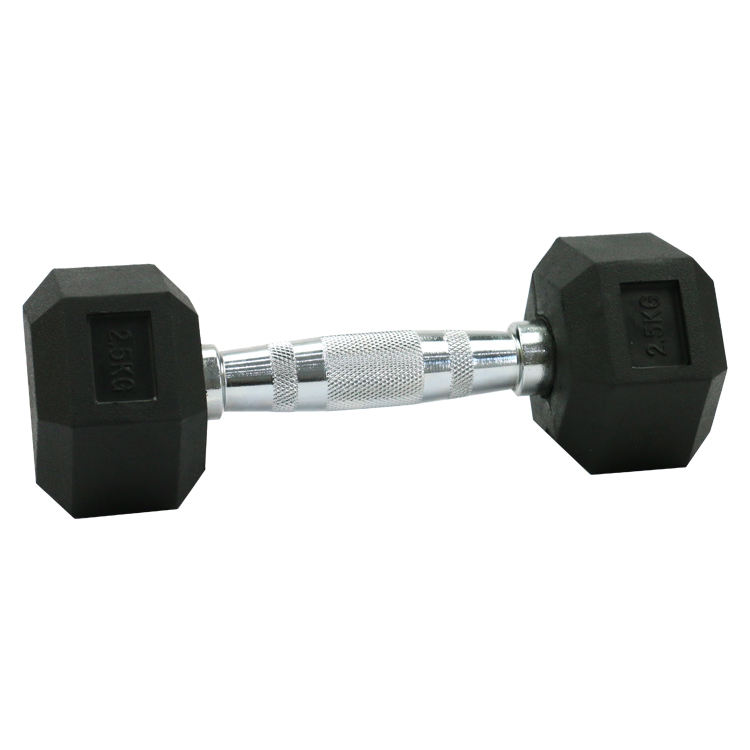 Wholesale black hex/hexagonal/hexagon deluxe rubber coated gym dumbbells sets for sale