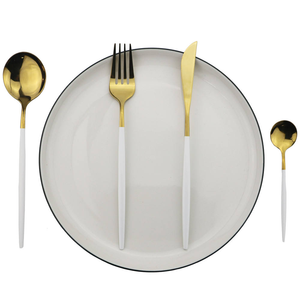 worldwide Tableware garnish products 18/10 flatware set gold plated stainless steel cutlery