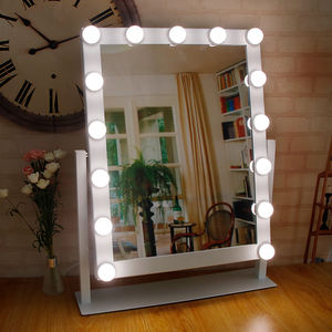 Hollywood Vanity 15 Led Bulbs Large Lighted Makeup Mirror Dimmer Table Lamp Stand Makeup Vanity Mirror with Light