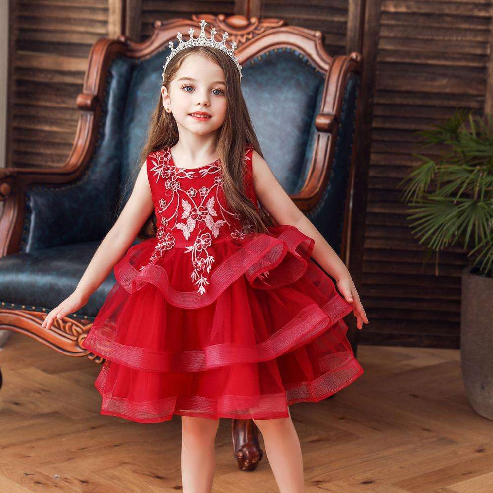 Elegant style kids dresses for weddings Children performing Princess Dress girls red party dresses for 8 years old