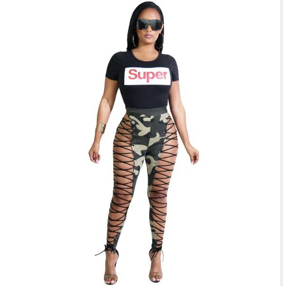 2018 New Woman Black White Side Lace Up Camouflage Color Cotton Gothic Punk Pants Wetlook Bandage Leggings