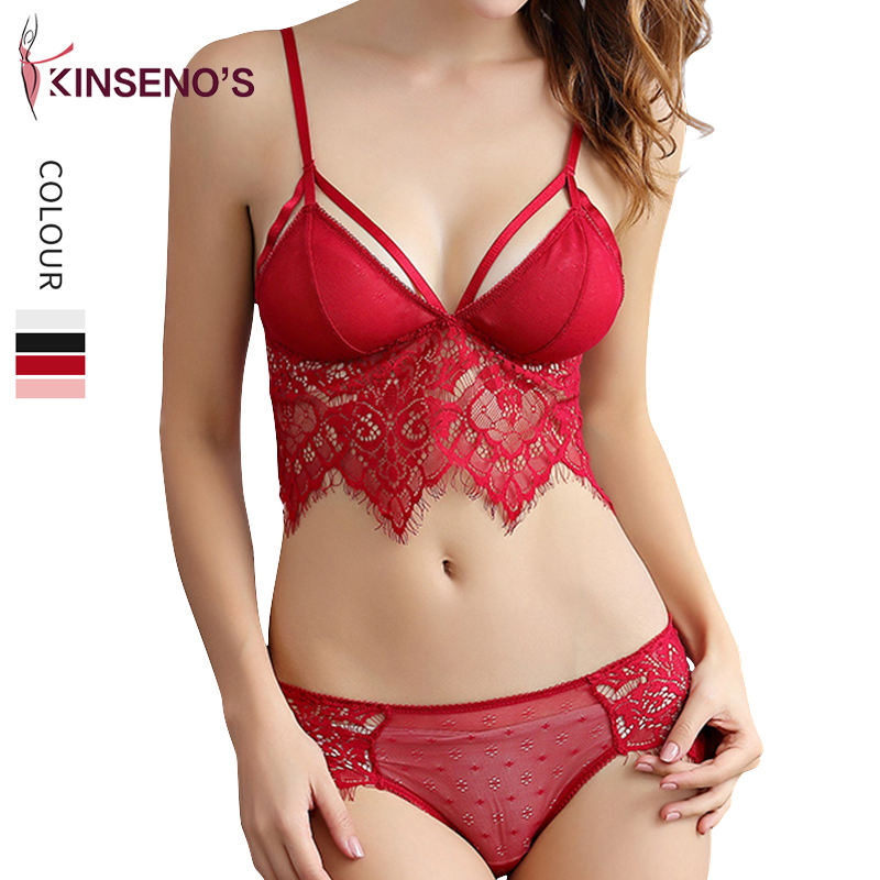Factory Wholesale Red Lace Comfortable Breathable Women Gather Bra Set