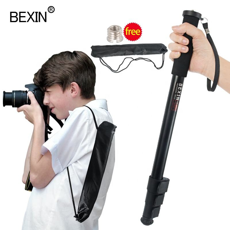 BEXIN aluminum portable lightweight flexible stable stabilizer unipod monopod single walking stick camera stand for dslr camera