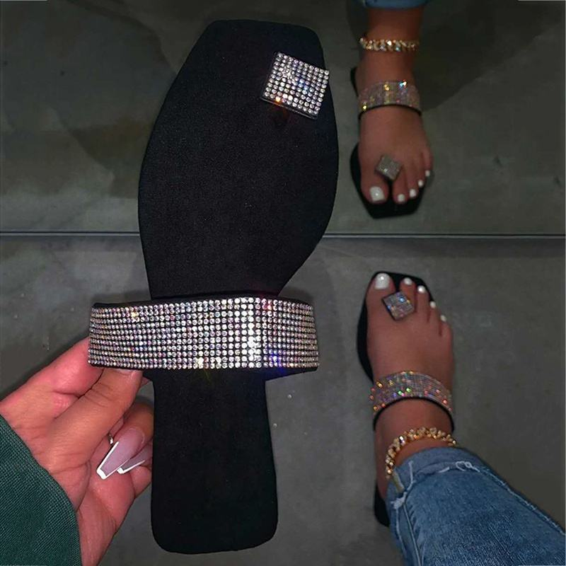 Summer Women Sandals Beach Shoes Rhinestones Women Flip Flops Fashion Shining Plus Size Casual Flat Sandals Female New