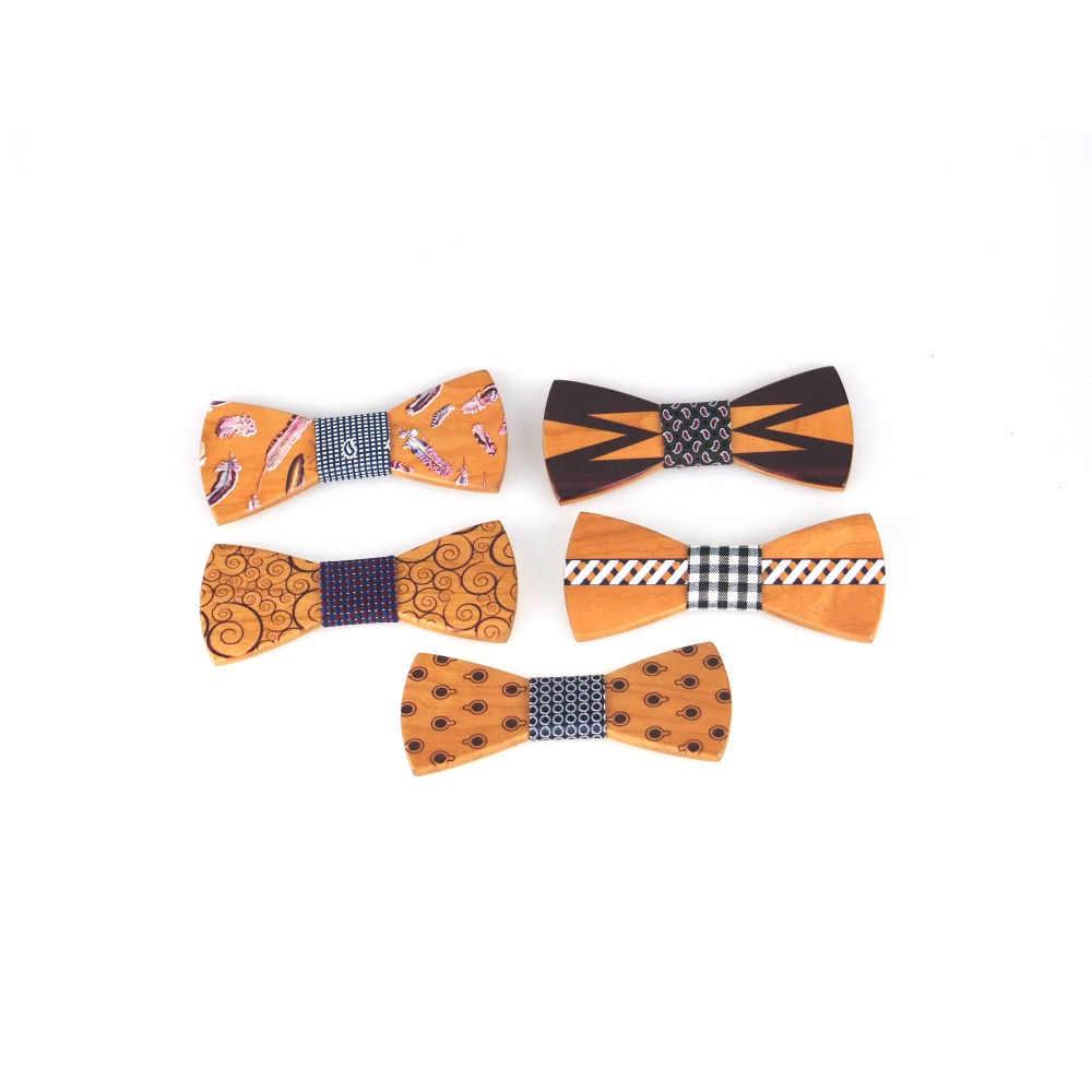 Sentai Handmade Custom Size Wood Bow Tie With Pattern
