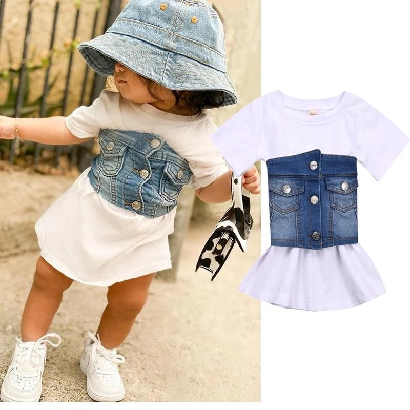 1-6Y Summer Kids Baby Girls Clothes Sets Short Sleeve White T-Shirt Dress+Denim Waistband Vest 2Pcs Fashion Girl Outfits Party