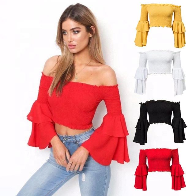 Beau Fly Trompet Mouwen Off Shoulder Gesmokte Dames Kleding Ruche <span class=keywords><strong>Tops</strong></span>