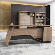loft industrial trend modern L shape design oak office executive table