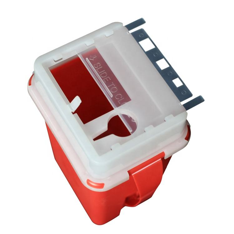 1 QT Red Collection Hospital Waste Medical Sharps Container