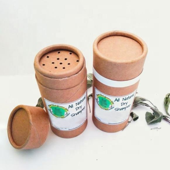 Biodegradable Cardboard Cylinder Compostable Dry Shampoo Powder Packaging Paper Tube Cans With Shaker Top