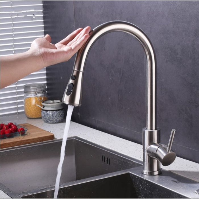 2 Function Pull Down Water automatic stainless steel Faucet Sink Mixer Taps Sensor touch upc Kitchen Faucet