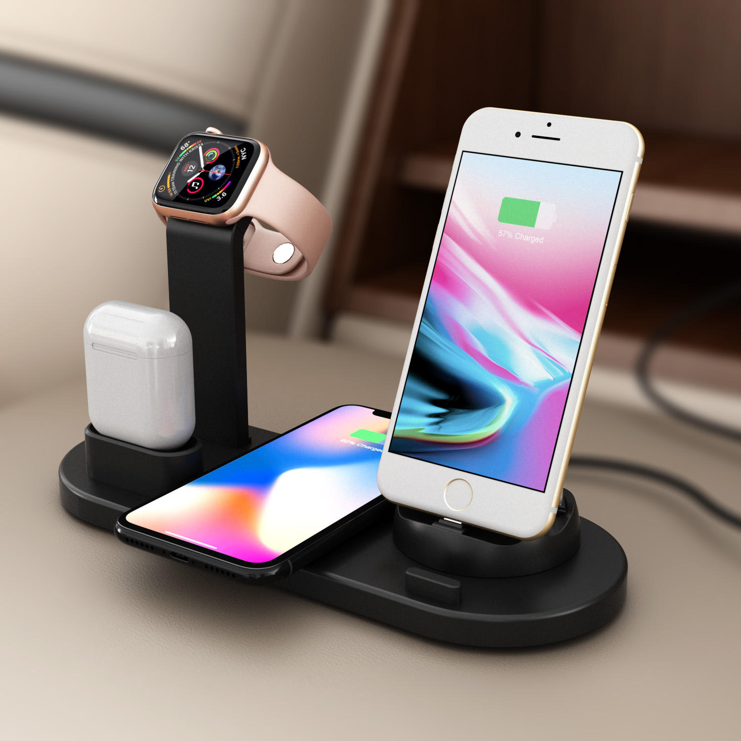 High quality mobile phone charging station 4 in 1 wireless charger multifunctional cool wireless charger
