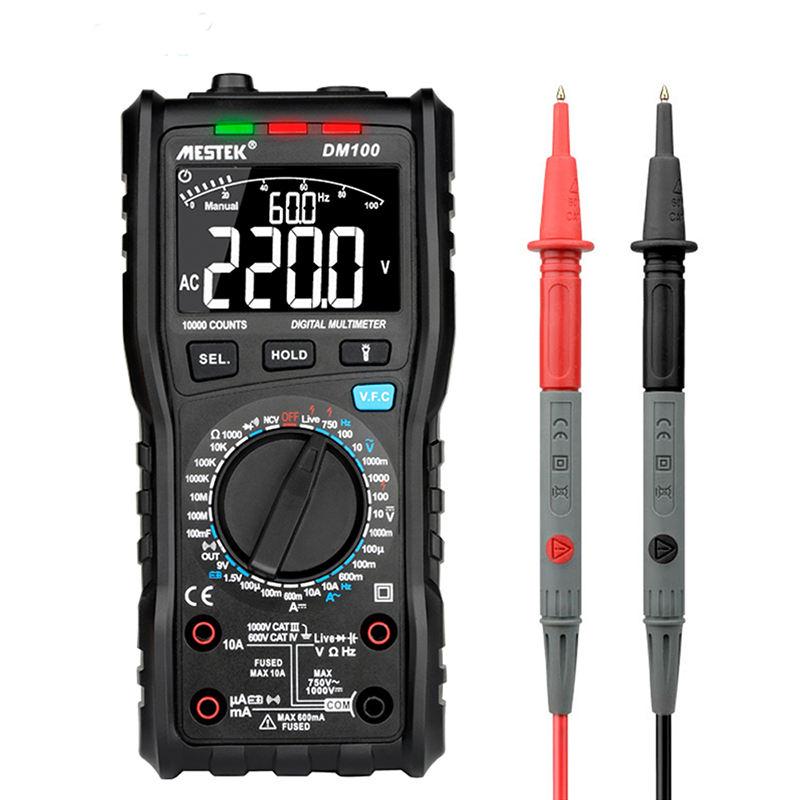best selling product Mestek Multimeter 10000 Counts DM100 1000V/10A Voltage Current Resistance Tester digital multimeter