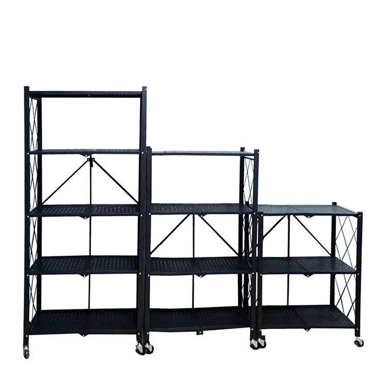 Home furniture foldable steel living room cabinet metal shelf easy assemble cabinet storage rack with wheels