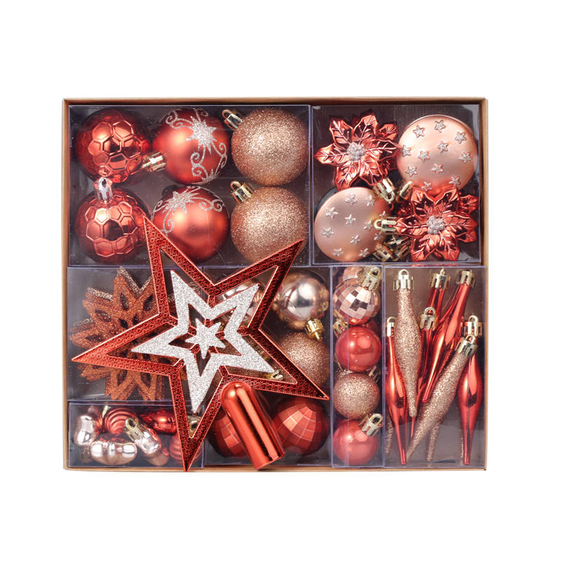 2021 Yiwu Hot Sale Christmas ball ornaments Decorative Plastic color mixed 58pcs set gift box decorations Home Xmas gift Decor