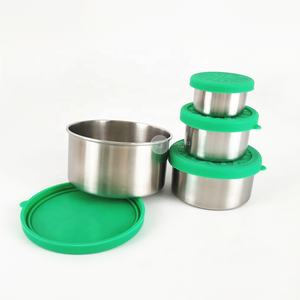 Silicone lid lunch box container stackable snack containers stainless steel food containers