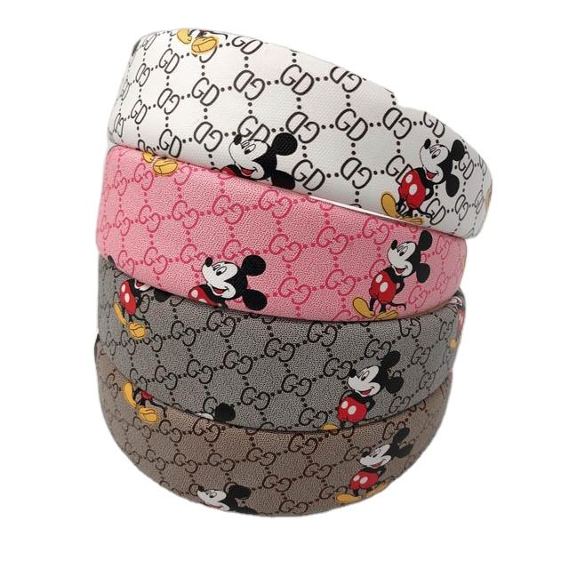2020 New Designer Headband Famous Brand Leather PU Mickey and Minnie Hair Accessories