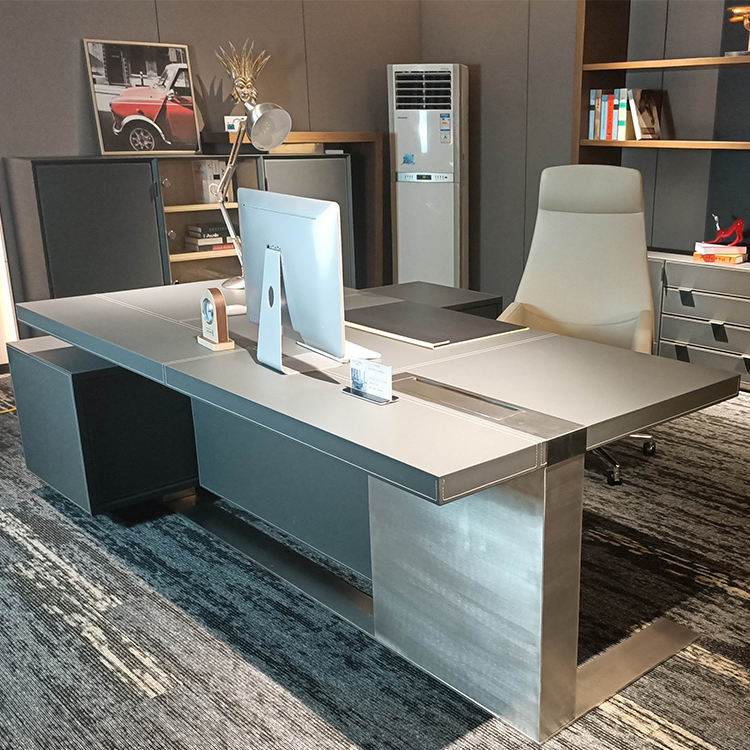 Modern design office boss table W-39 office leather table office for sale