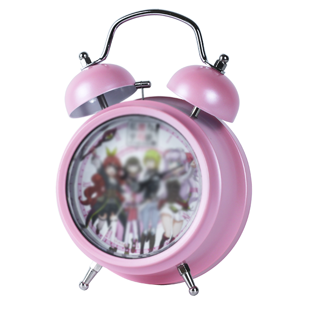 TB12003 pink Vintage metal table desk alarm clock with logo customer voice modern home decor metal twin bell alarm clock