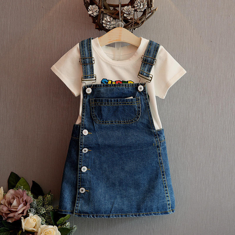 Girls's denim skirt 2020 new Korean fashion foreign style girl's carrying skirt dress children's cute a