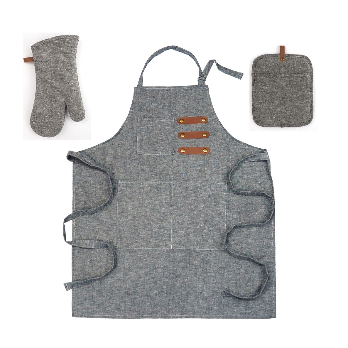 MEITA HOME Kitchen cooking gray cotton apron set Pot Holder Oven Mitt NEW