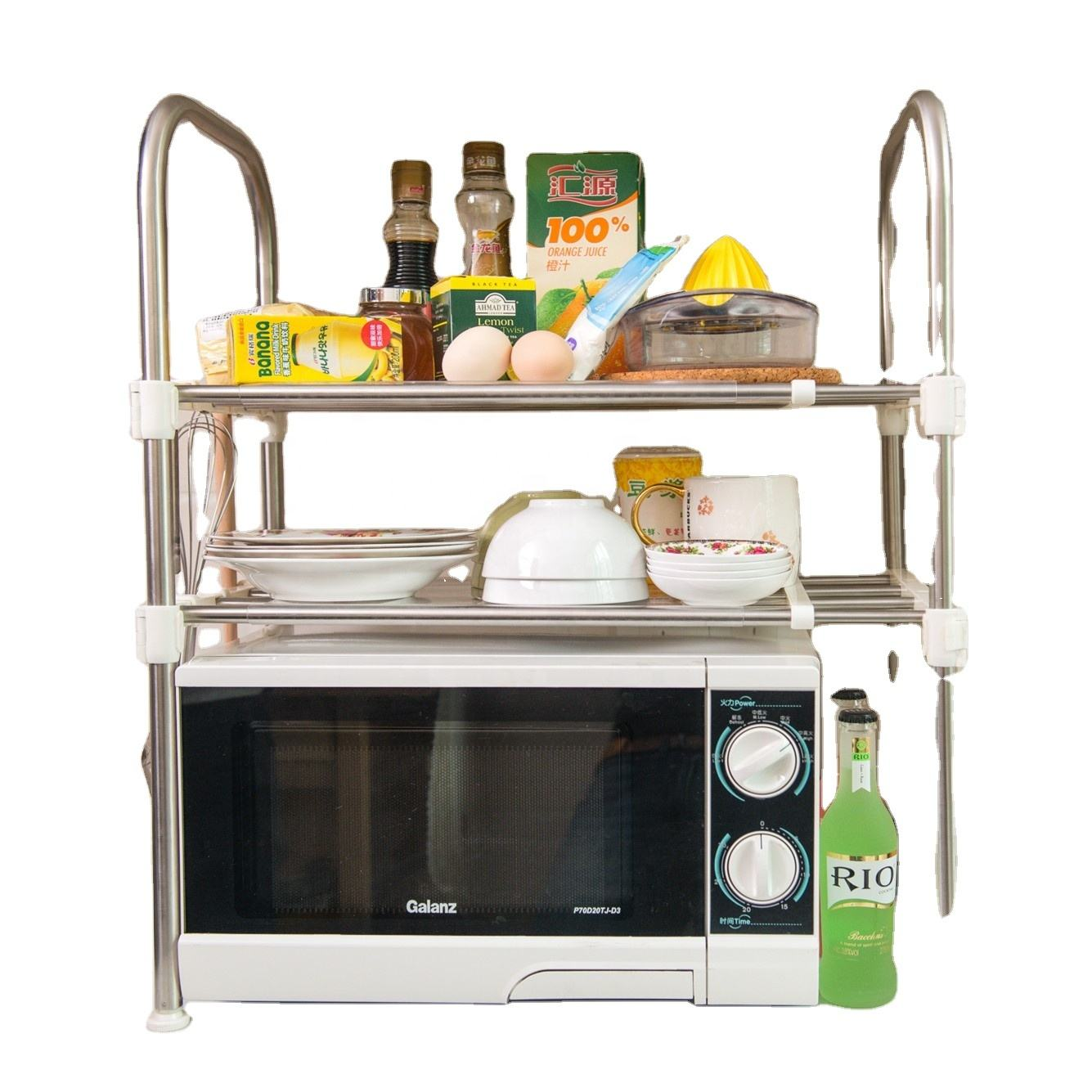 Metal Household Kitchen Stainless Steel Microwave Oven Rack Storage Holder
