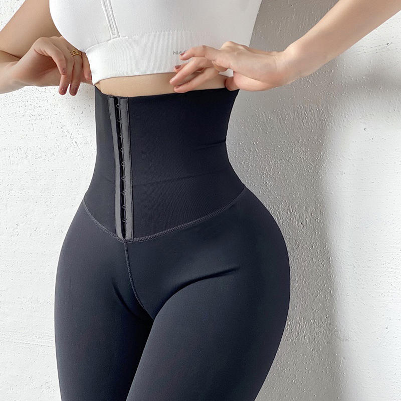 2021 NEW Custom Hooks Waist Trainer Corset Leggings Women Yoga Pants Stretch Sport Leggings High Waist Tights
