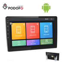 Podofo 10.1'' Autoradio Android 8.1 Car Radio Stereo 2 Din HD 2.5D Tempered Glass Touch Screen Car Video WIFI GPS Bluetooth