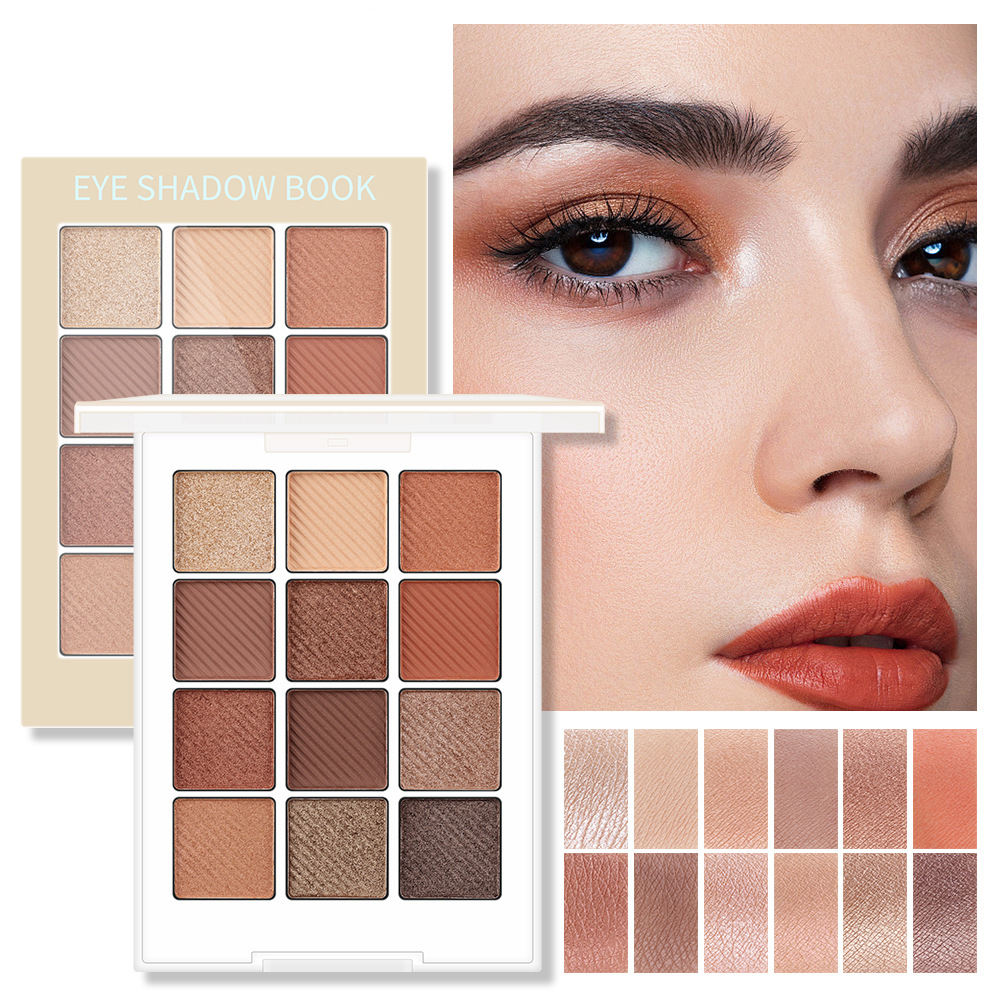 INS Hot Sell Pastel Square 12 Colors Brown Matte Nude Eyeshadow Palette