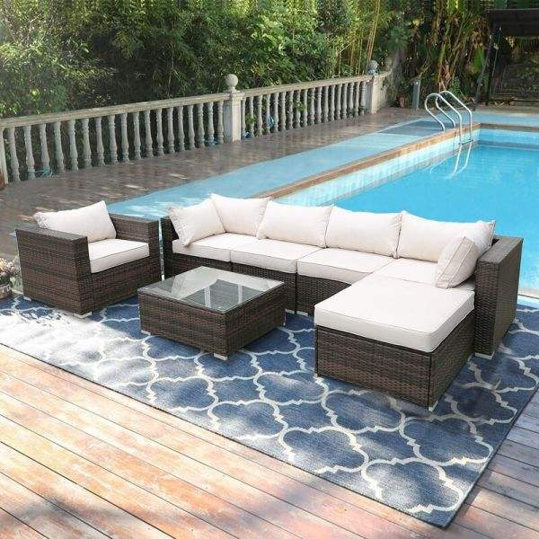 Popular Outdoor Rattan Set Sofa Wicker Garden Set Rattan Lounger Sofa Furniture Rattan Corner Sofa Set