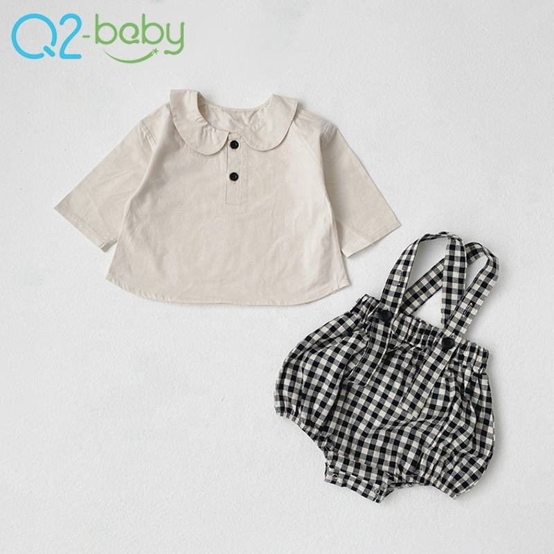 Toddlers clothing set baby boys girls long sleeve t-shirt straps climb clothes infant t-shirt 2 sets 3554