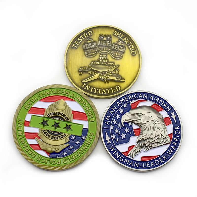 In Stock Factory Cheap Custom 3D Soft Enamel Epoxy Commemorative Military Eagle Challenge Coin