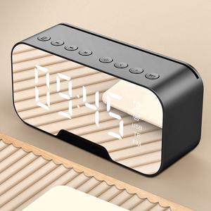 Mirror desk clock with bluetooth speaker digital LED light desk & table FM radio alarm clock electronic calendars 2020 Amazon