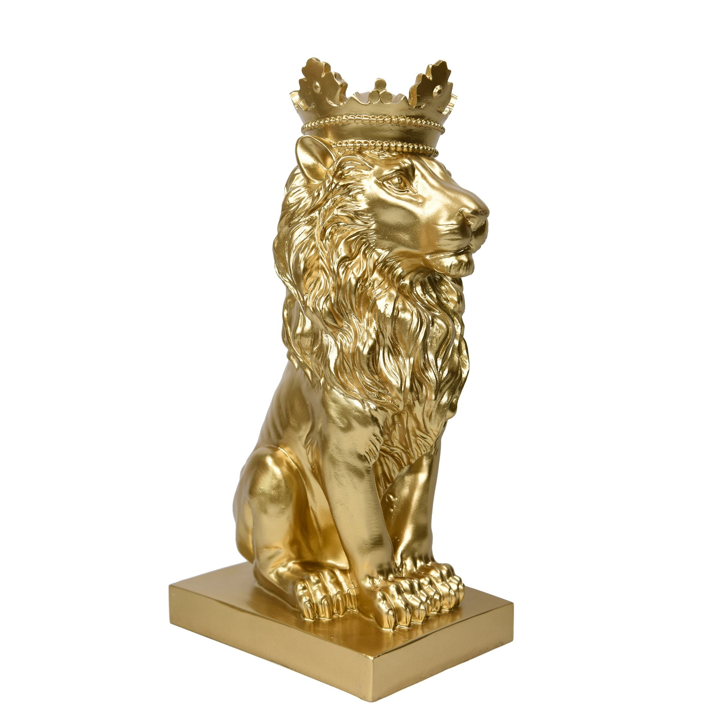 Gold Animal Decoratie Leeuw Standbeeld <span class=keywords><strong>Accent</strong></span> Decor Hars Ambachten