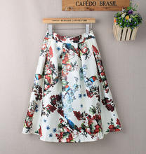 Slanna 2020 Womens Vintage Style Floral Pattern Printing Flare Pleated Midi Skirt For Female