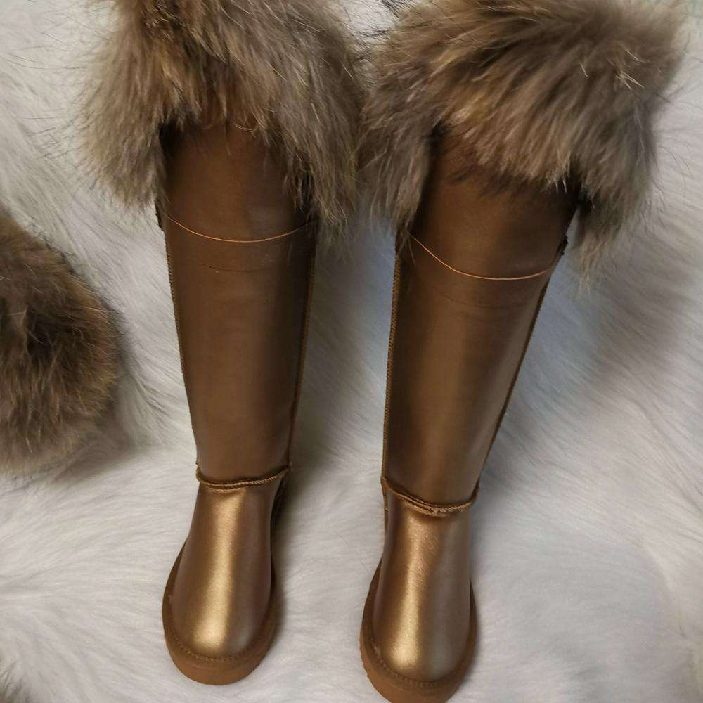 2019 christmas waterproof brown leather long boot fluffy raccoon fur boot snow boot custom big size