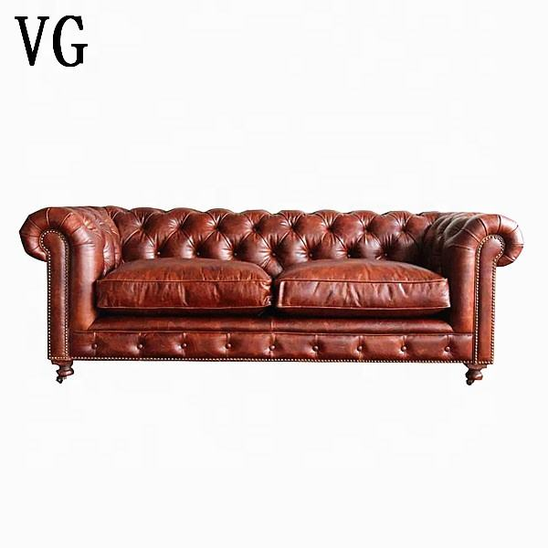Classic Italy wax leather sofa chesterfield 2 seater living room sofa button back brown leather sofa